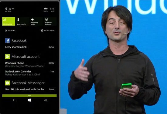 Joe Belfiore viste fram Action Center-komponenten i Windows Phone 8.1.