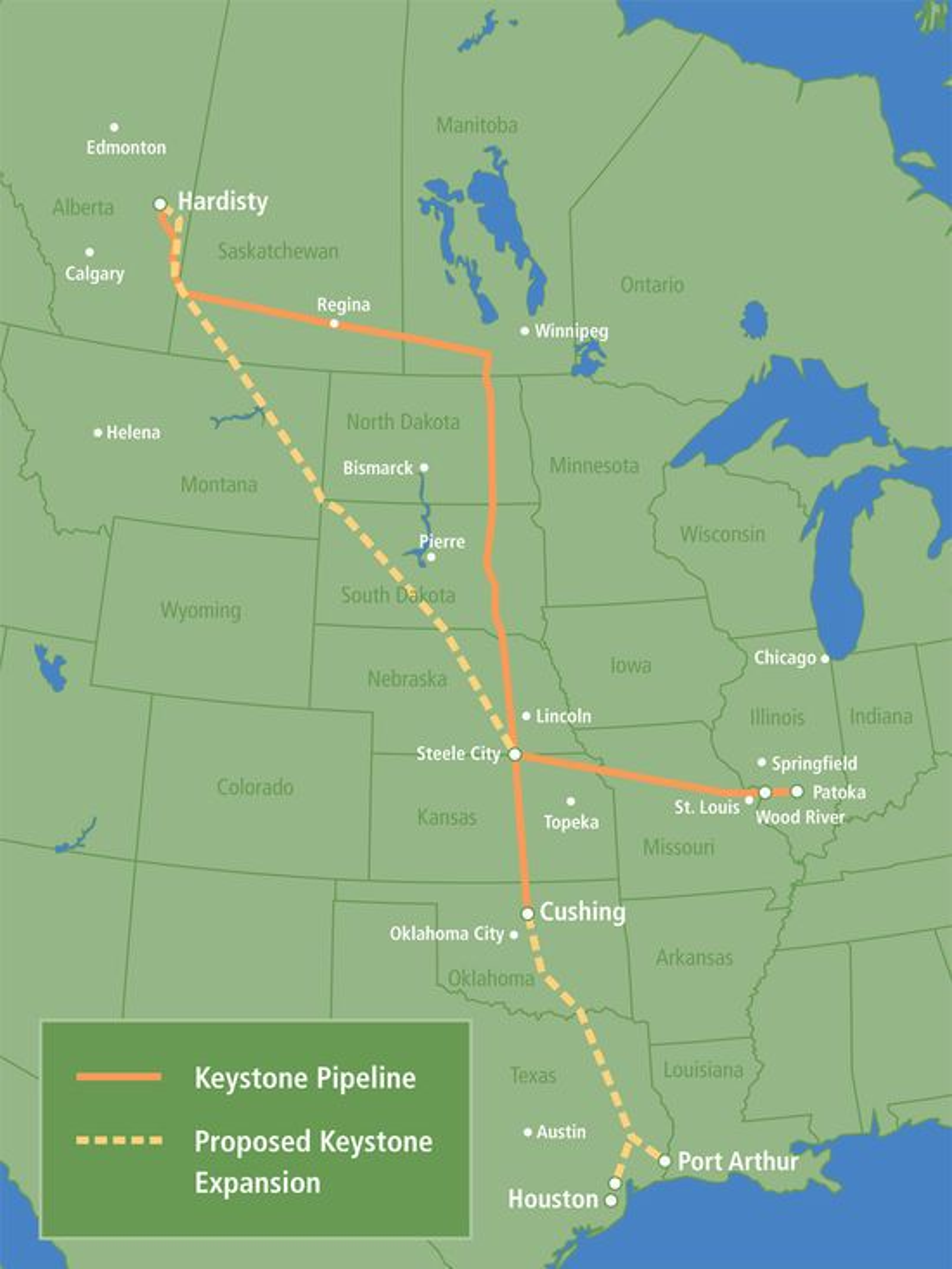 Utvidelsen av Keystone-ledningen, kjent som Keystone XL, er den prikkede linjen på kartet.