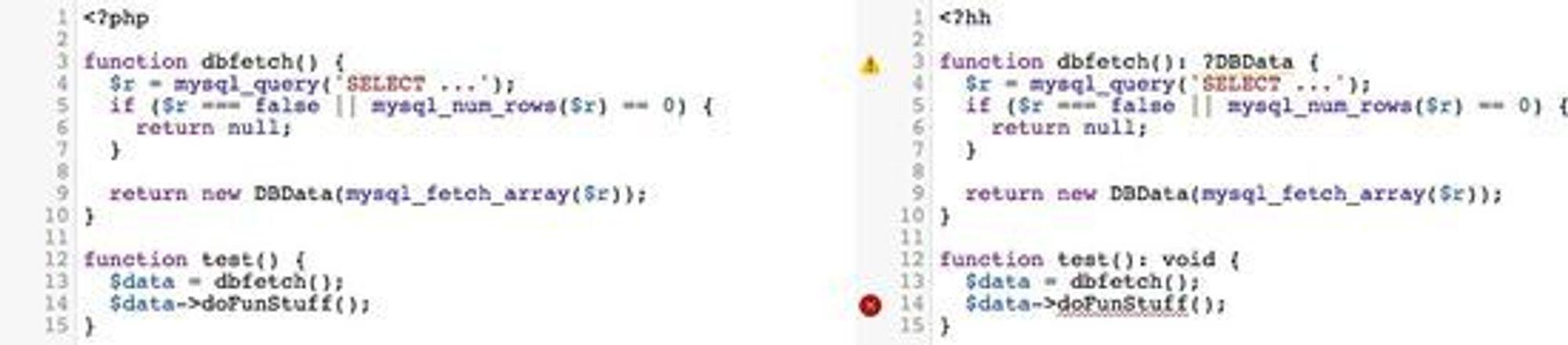 Det samme kodeeksempelet i PHP (tv) og i Hack. Kallet på doFunStuff()-funksjonen i DBData-klassen vil ikke fungere dersom dbfetch()-funksjonen returnerer en nullverdi.