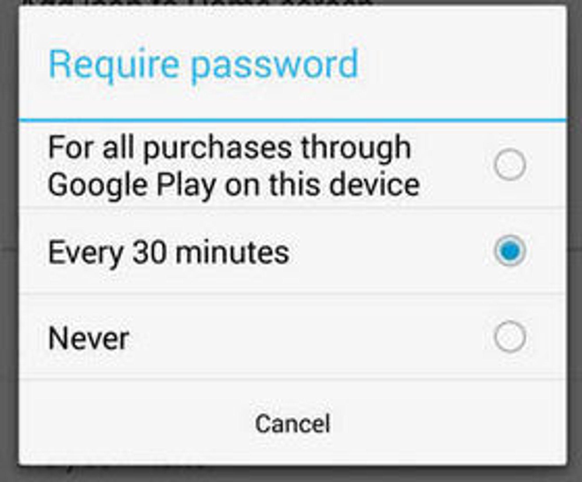 Android-brukere kan nå velge at det kreves passord ved alle kjøp via Google Play, både direkte i butikken og internt i appene.