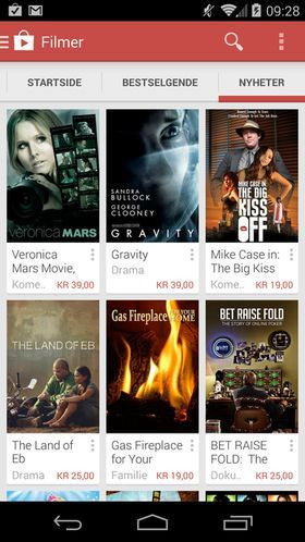 Android-appen for Google Play Movies (Filmer).