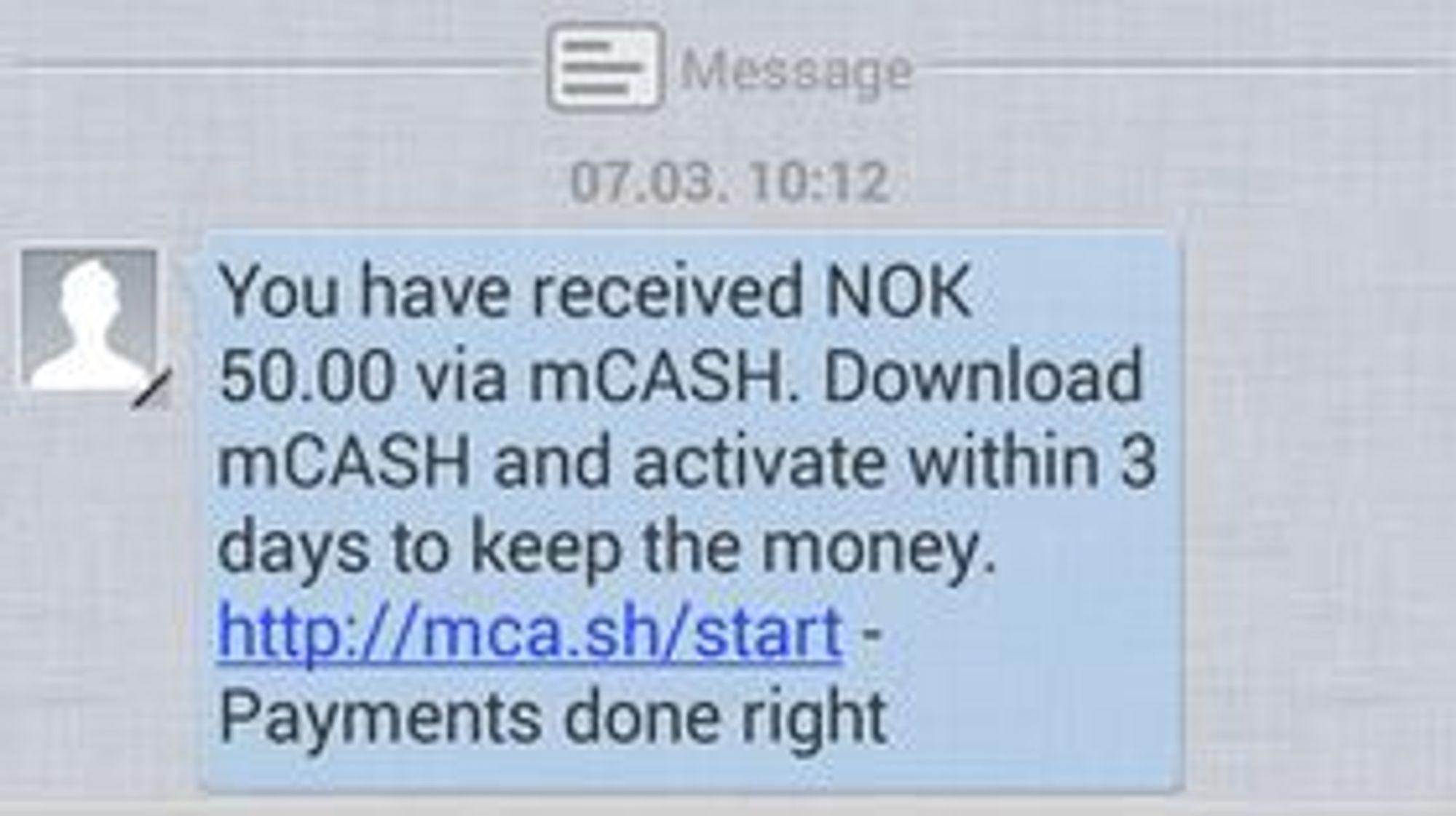 Mobilbrukere som ikke har mCash-appen installert vil få en slik SMS med beskjed om en betaling og med en lenke til mer informasjon.