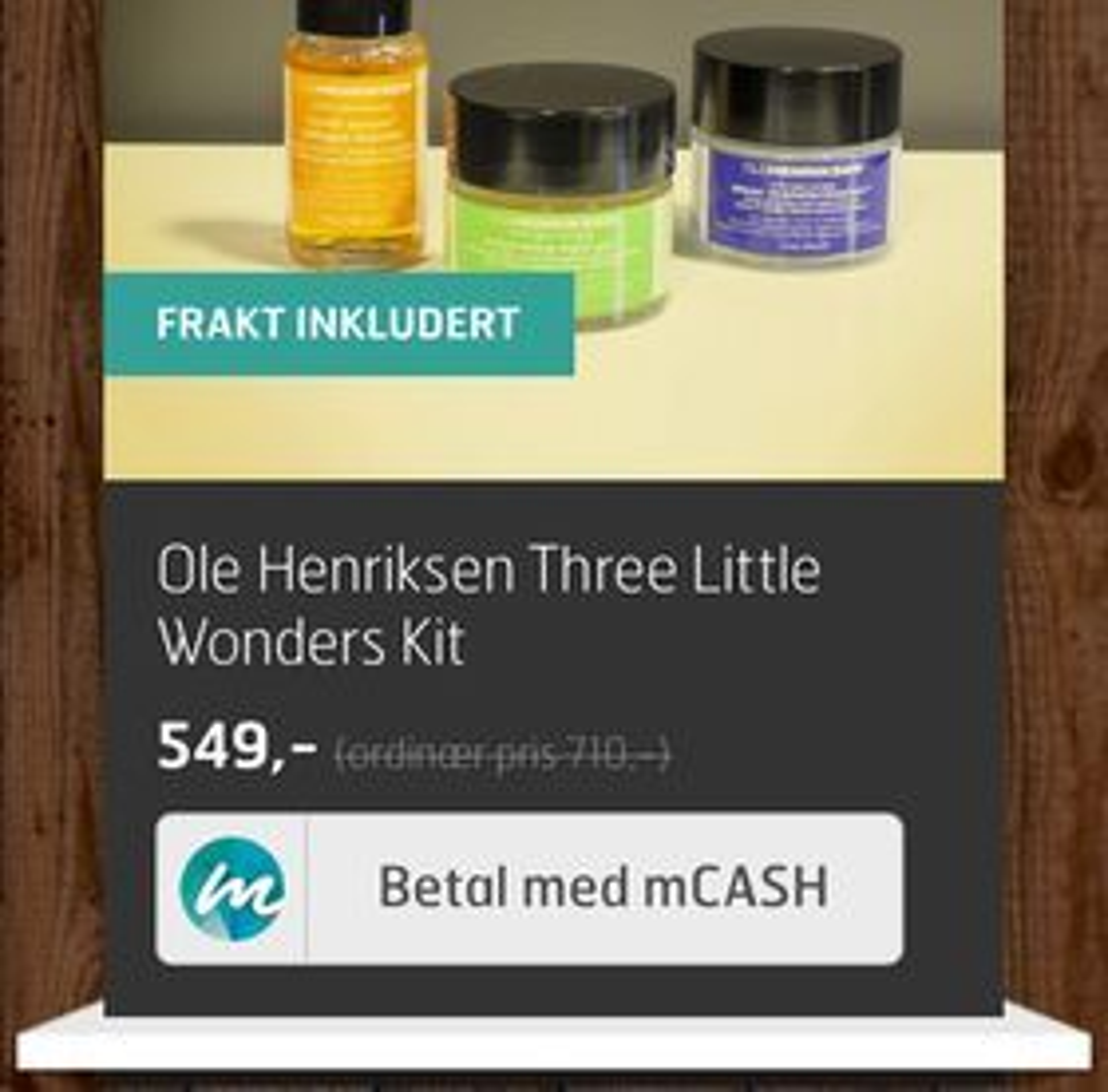 Knappen som gjør det mulig å bruke mCash også til netthandel med mobilen.
