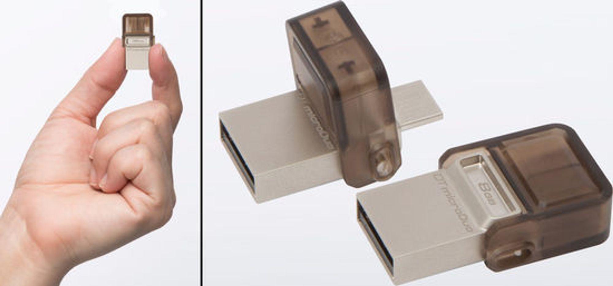 MicroDuo har beskjedne ytre mål. Konstruksjonen verner om micro-USB-pluggen.