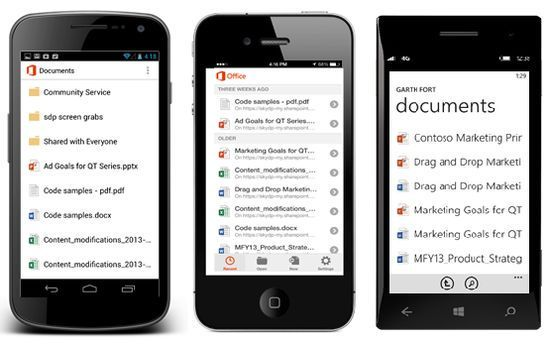 OneDrive for Business har apper for Android, iOS og Windows Phone.