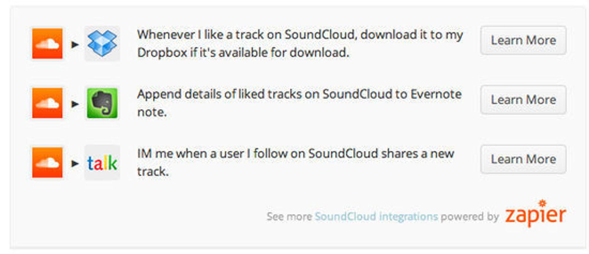 Eksempler på hvordan oppskrifter kan få data fra Soundcloud inn i andre tjenester.