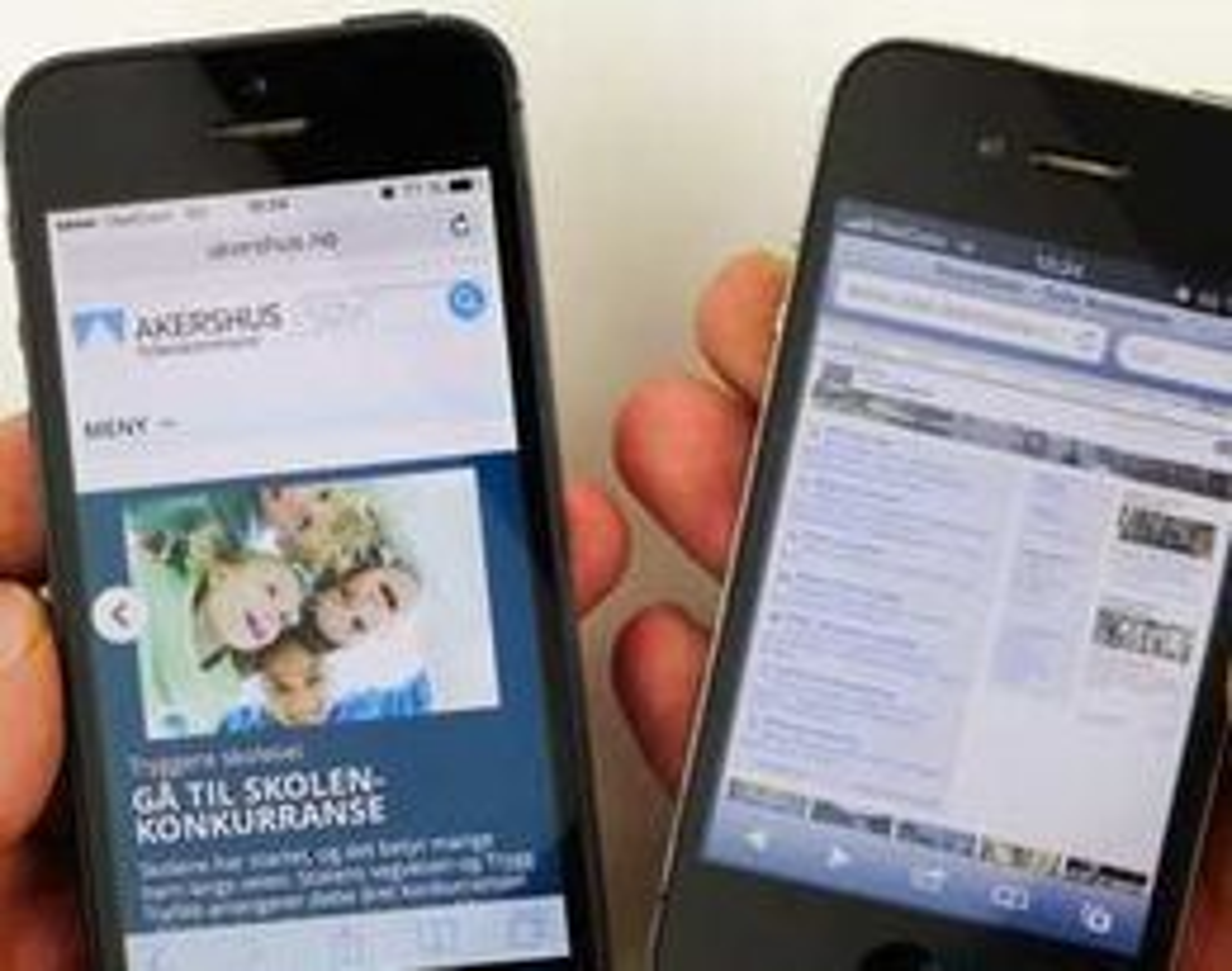 Mens nettsidene til Akershus fylkeskommune (til v.) er tilpasset mobil har Oslo kommune ennå til gode å levere mobilutgave. Men det kommer altså til høsten.