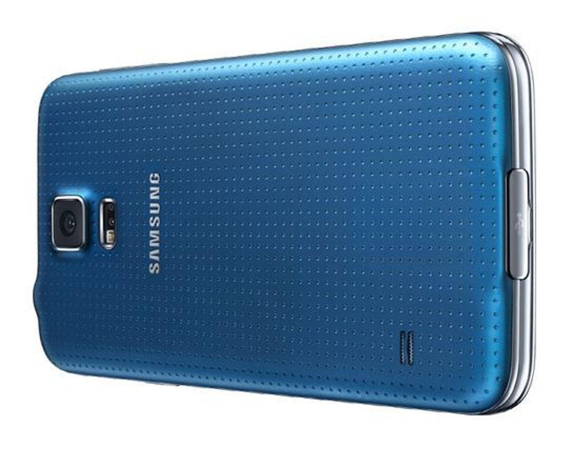 Den perforerte baksiden til Galaxy S5.