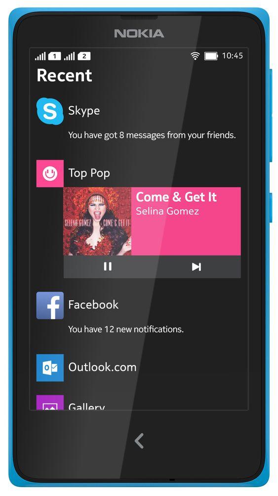 Nokia X med oppgavebehandleren Fastlane.