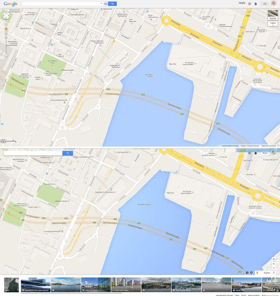 Bjørvika i Oslo vist i gammel og ny utgave av Google Maps.