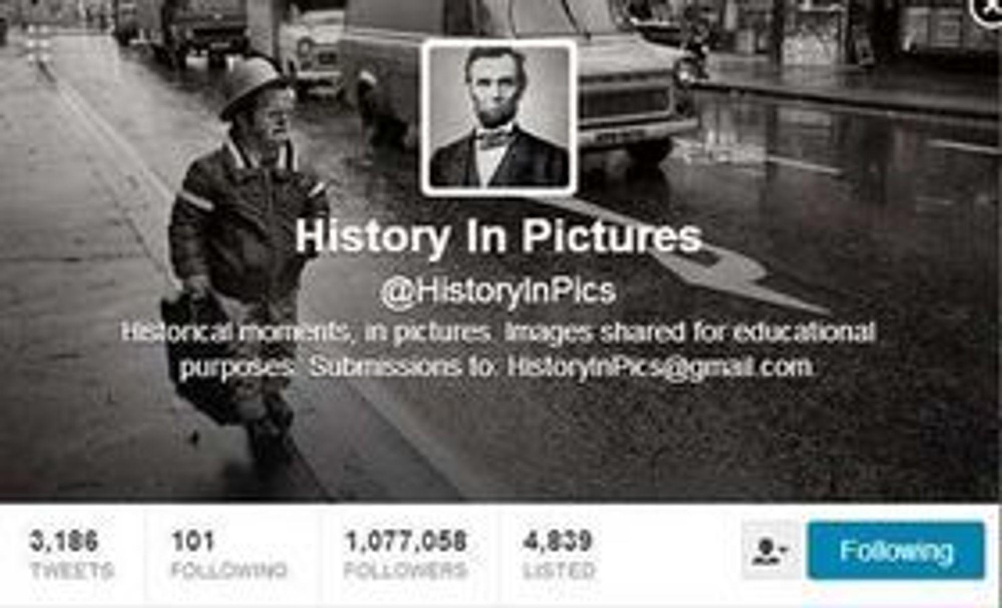 History In Pictures-kontoen ble opprettet i juli i fjor, og har passert en million følgere.