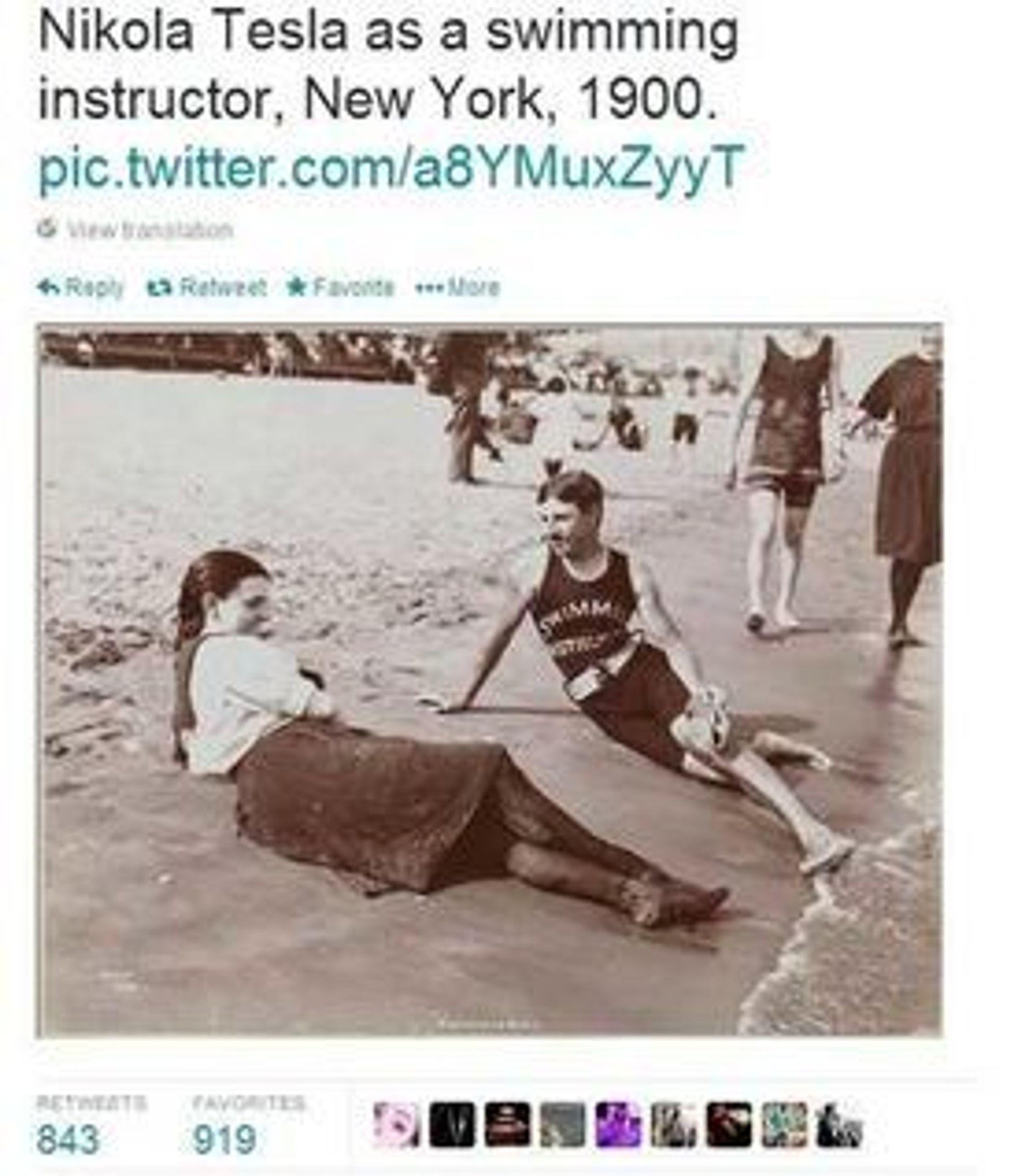 Svømmelærer? Ja. Vitenskapsmannen Nikolas Tesla? Nei. Faksimile fra Twitterkontoen @historicalpics