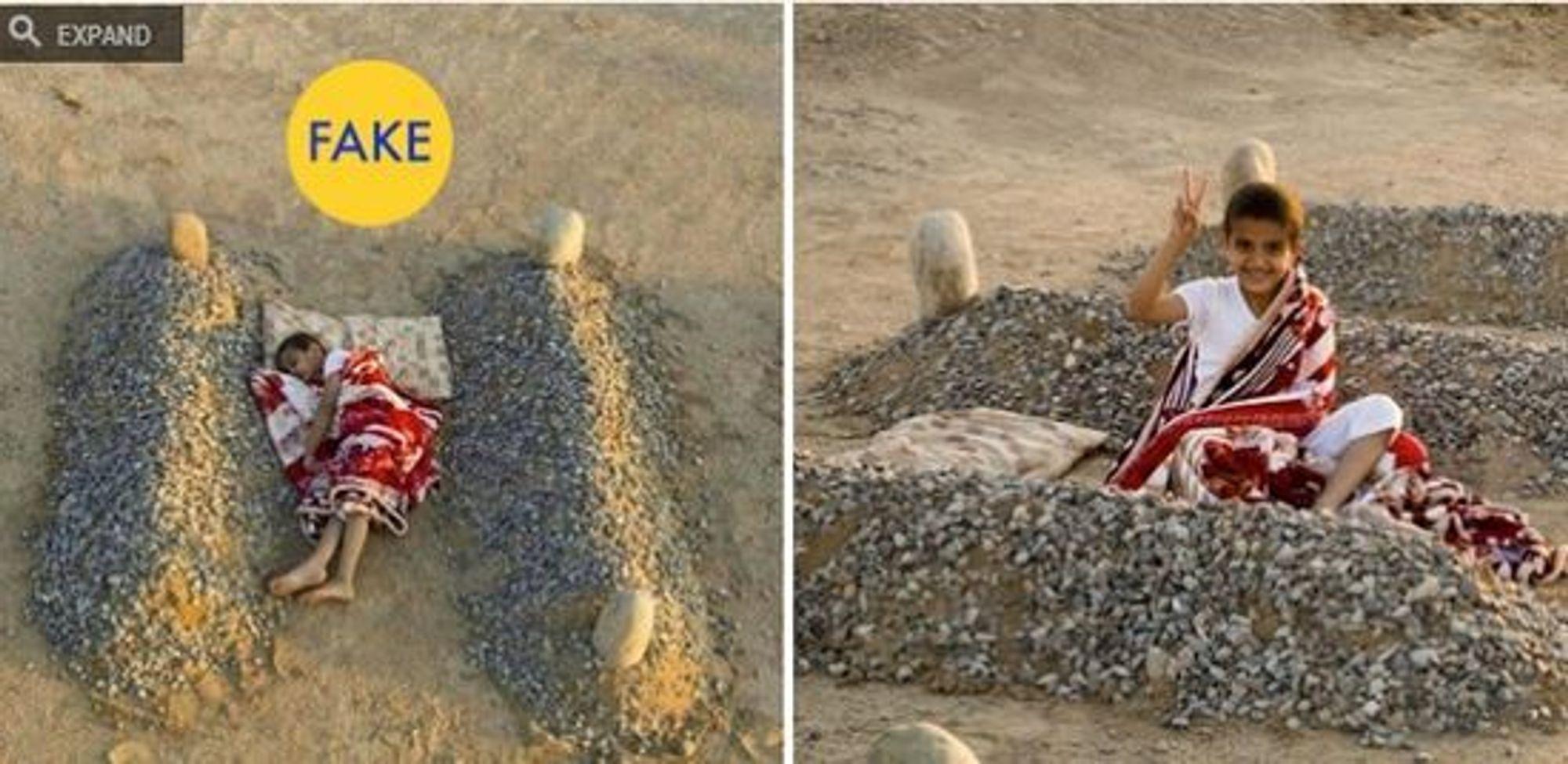 Det hjerteskjærende bildet av en syrisk gutt som angivelig sover mellom gravene til sine døde foreldre gikk som en farsott på nettet. I virkeligheten var gutten ved godt mot (t.h.) og bildet en del av et kunstprosjekt av den saudiske fotografen og kunstneren Abdul Aziz al-Otaibi. Faksimile fra Paleofuture.