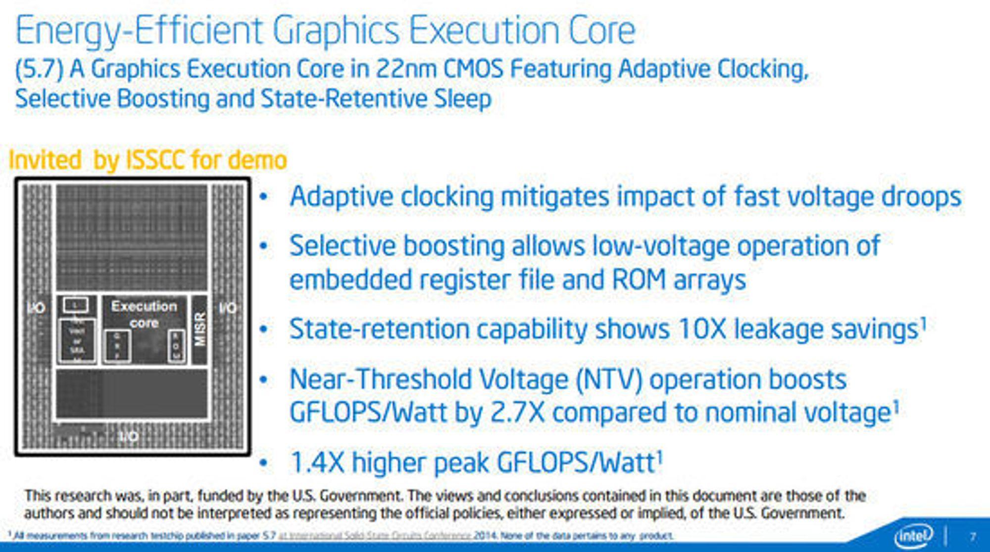 Beskrivelse av Intel foredrag om den nye grafikkjernen under ISSCC 2014.