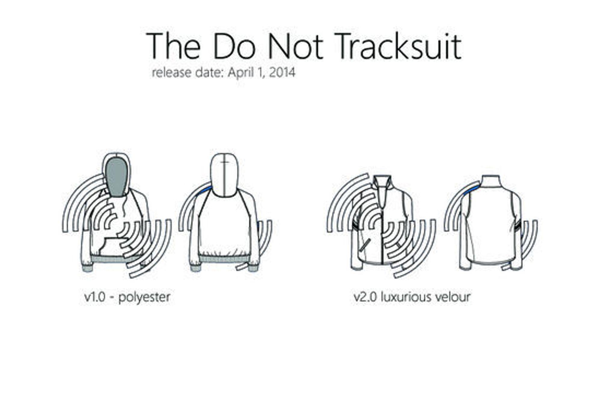 Den første utgaven av The Do Not Track Suite er laget i polyester, en luksusversjon i velur kommer først senere.