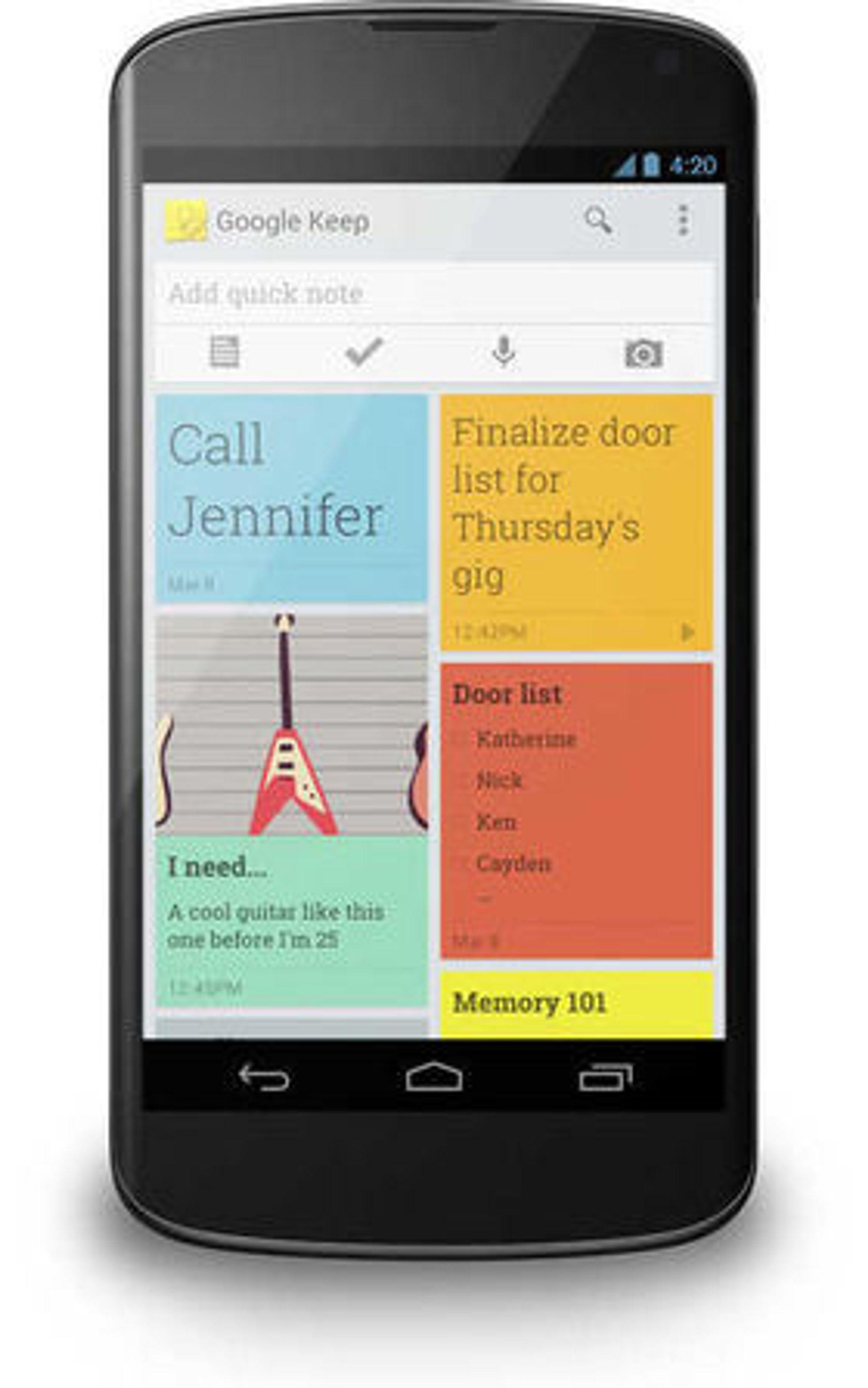 Android-versjonen av Google Keep.