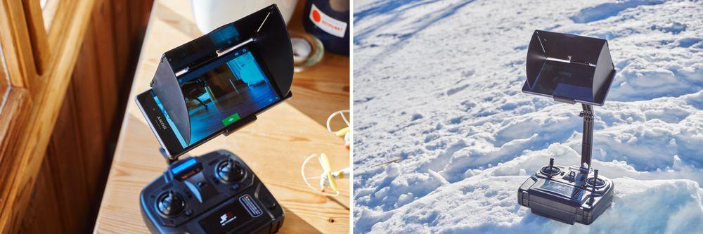 Sammen med kontrolleren følger det med et relativt kraftig telefonfeste, som dessuten leveres med en solskjermer. Dette øker leseligheten av skjermen ute betraktelig, og er noe Nine Eagles skal ha kudos for!