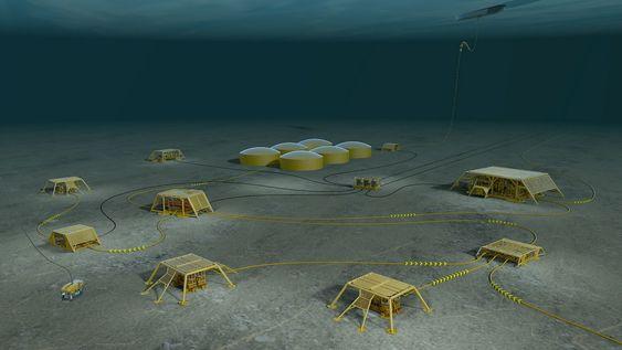 Programvare for analyse av brønnhodene på havbunnen (inne i de gule brønnrammene på denne illustrasjonen) ble prøvekanin for Statoils test av nettskyen.
