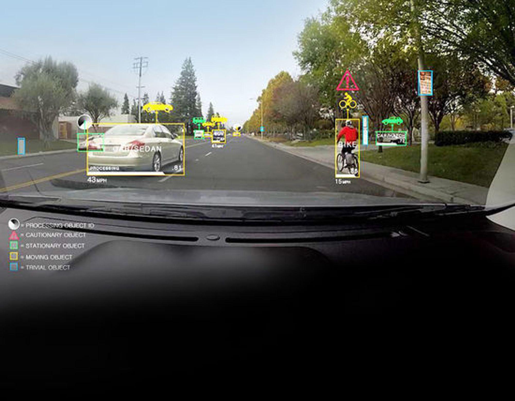 Slik ser Nvidia for seg at biler kan analysere omgivelser med Drive PX.