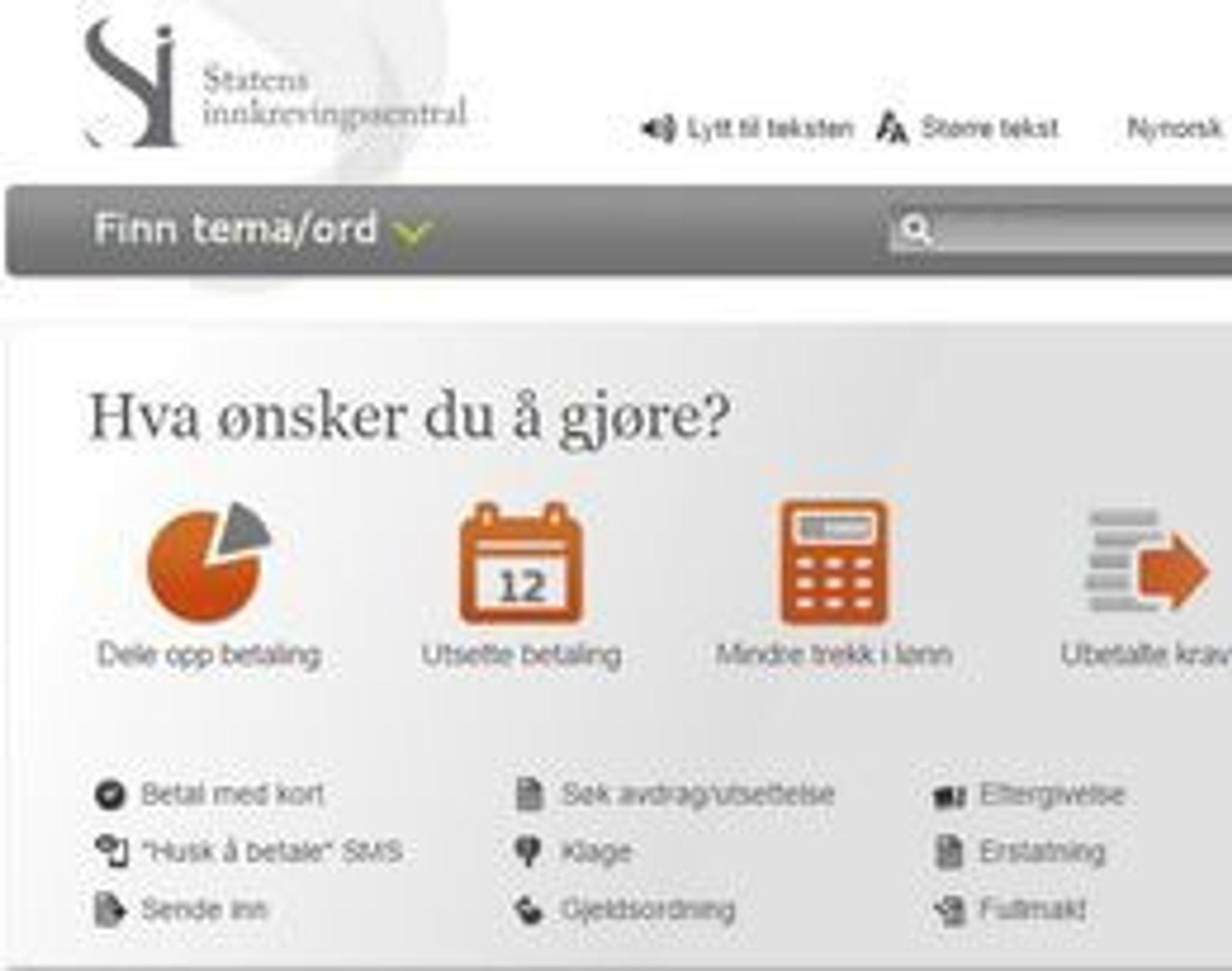 POPULÆR: Hjemmesidene til Statens innkrevingssentral er populære, tross tjenestene de tilbyr - men bare til et visst nivå.