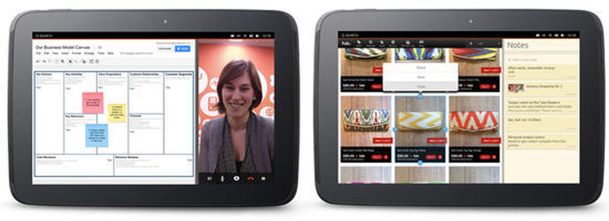 Nettbrett-grensesnittet til Ubuntu støtter visning av en standard nettbrettapplikasjon på den ene siden og en applikasjon med mobil-layout på den andre siden.