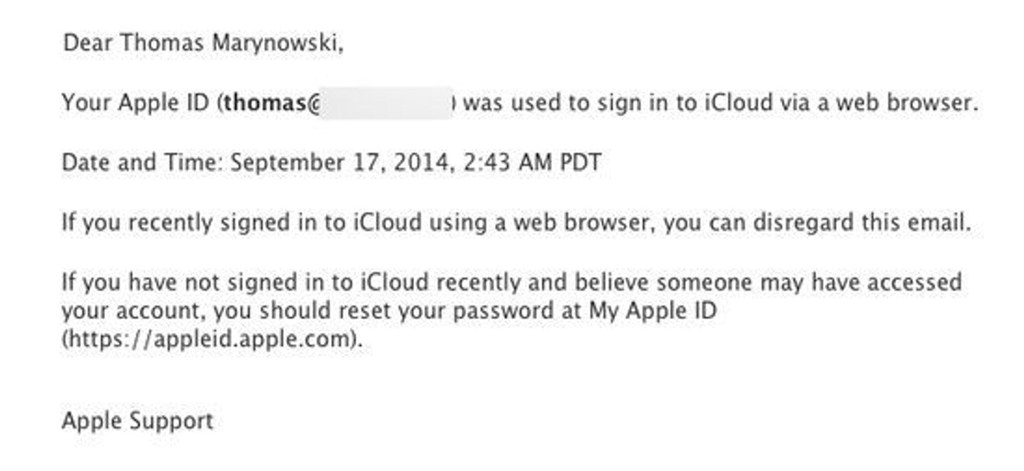 Apple sender også ut en epost hvis man logger seg inn fra en ny nettleser.