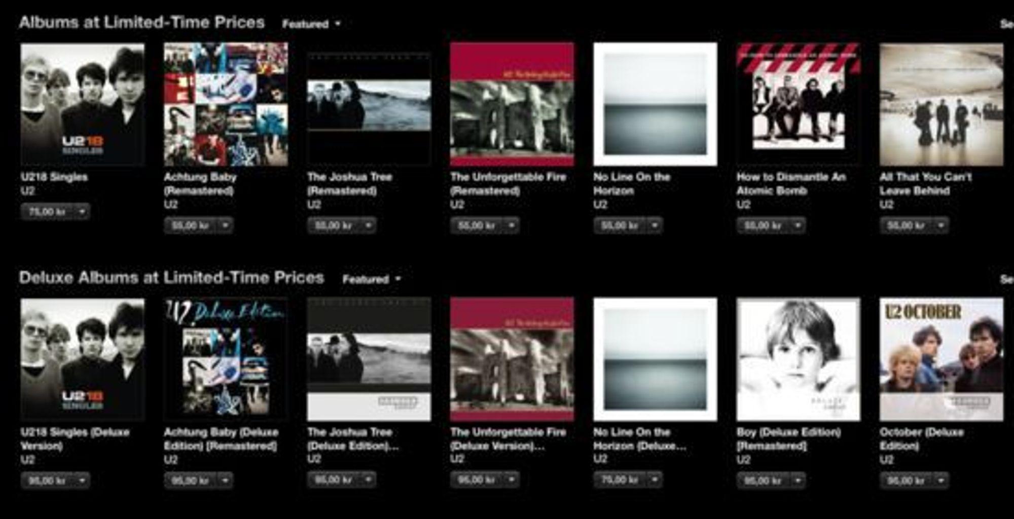 U2 er godt synlig på iTunes for tiden, og deres eldre album selger også godt.