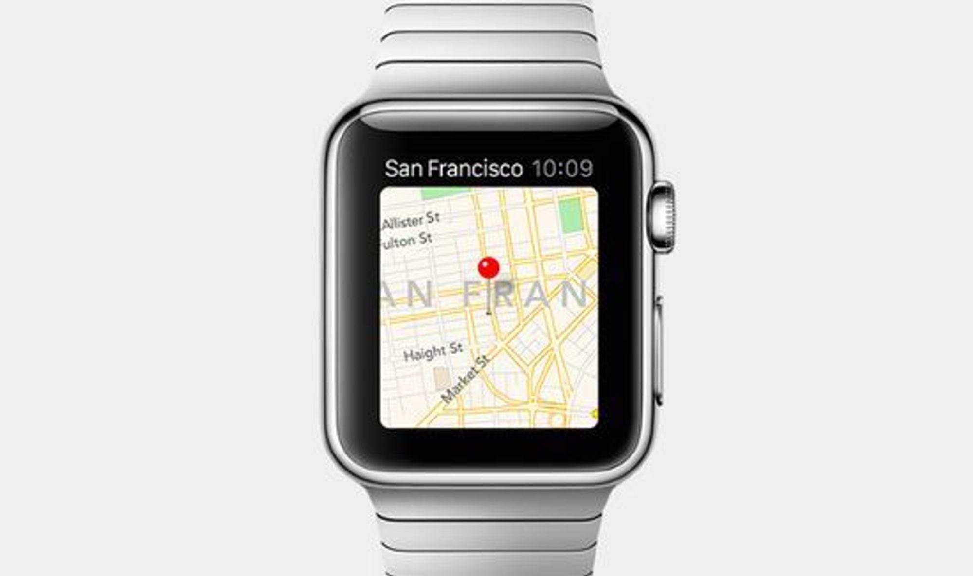 Kartapplikasjon vil selvsagt finnes på smartklokken.