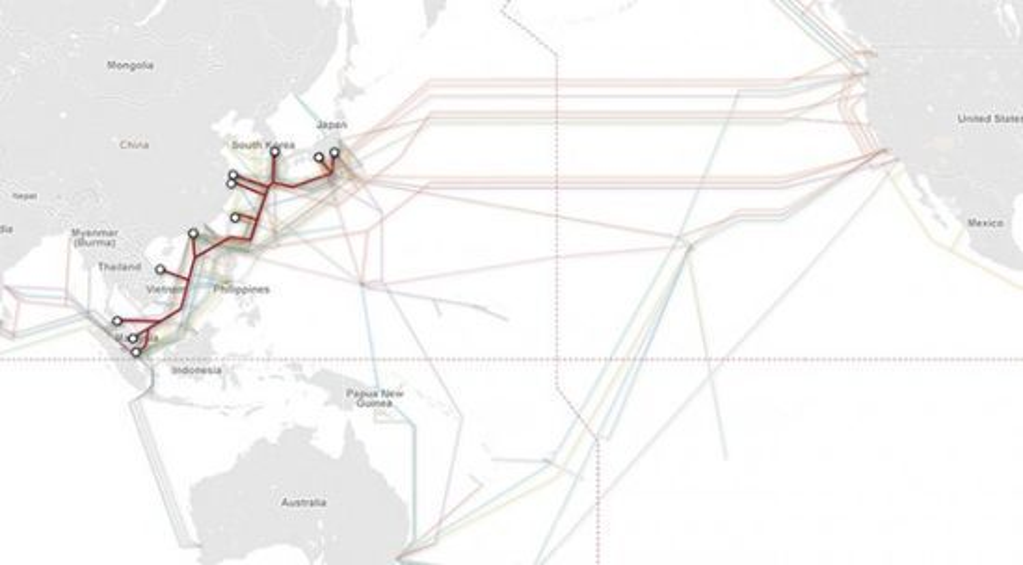 Slik forholder APG seg til andre undersjøiske fiberkabler i området Sørøst-Asia og Stillehavet.