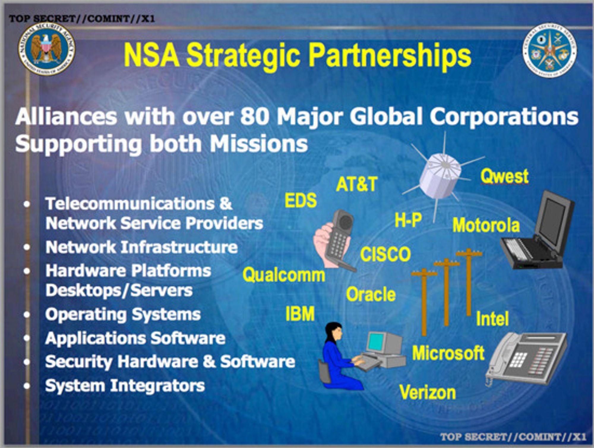 NSA skryter av mer enn 80 strategiske partnere innen alt fra telekom og nettverk til leverandører av operativsystem, programvare, sikkerhetsaktorer og systemintegratorer.