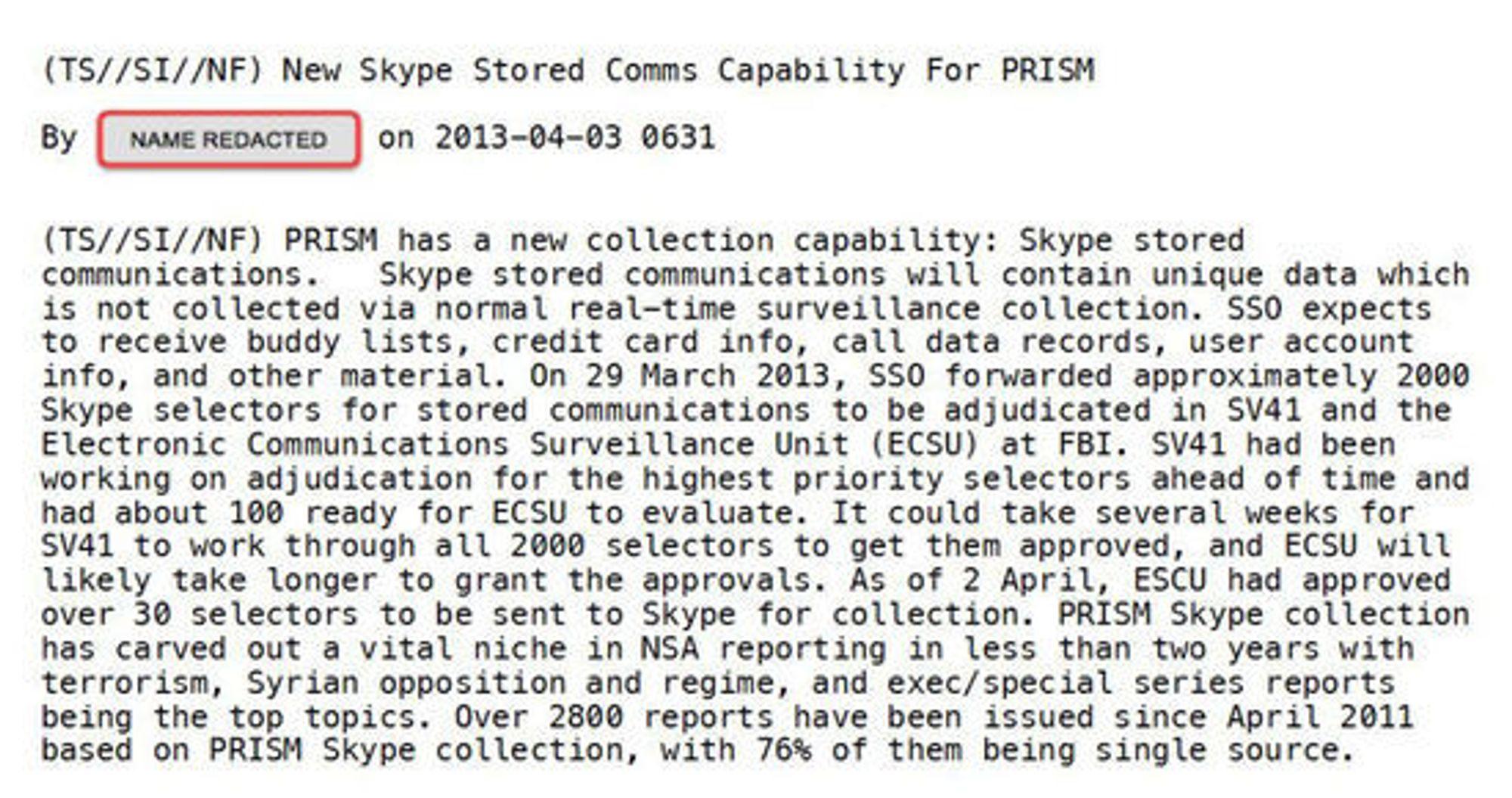 Melding som blant annet forteller om hvor viktig Skype-innsamlingen er for NSA. Meldingen er en del av Snowden-arkivet.