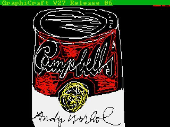 Den berømte suppeboksen, og altså Warhols første eksperimentering med musbruk på en Amiga.