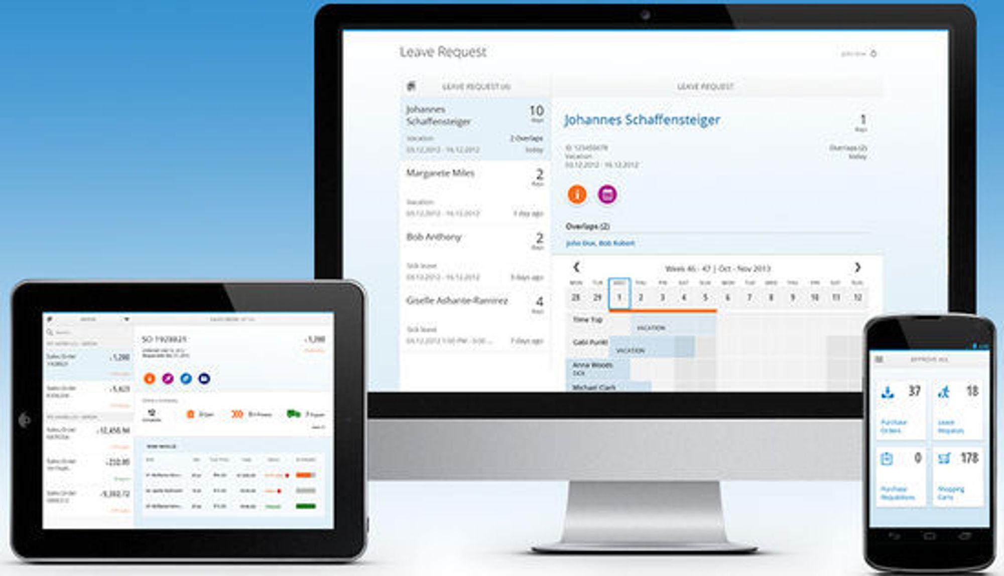 Responsive design gjør at appen automatisk tilpasser seg skjermen den har til rådighet.