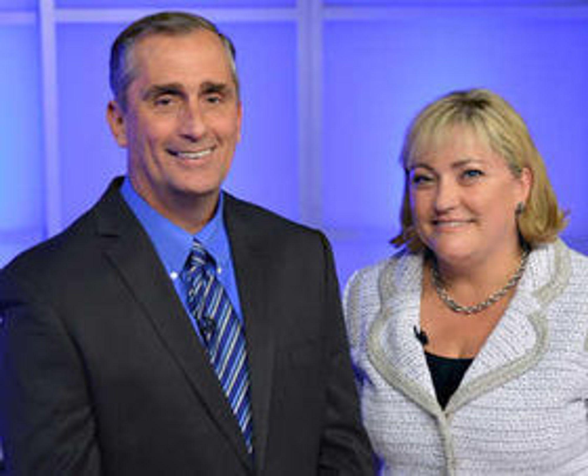 Brian Krzanich (52) blir ny toppsjef, mens Renee James (48) overtar som president i brikkegiganten.