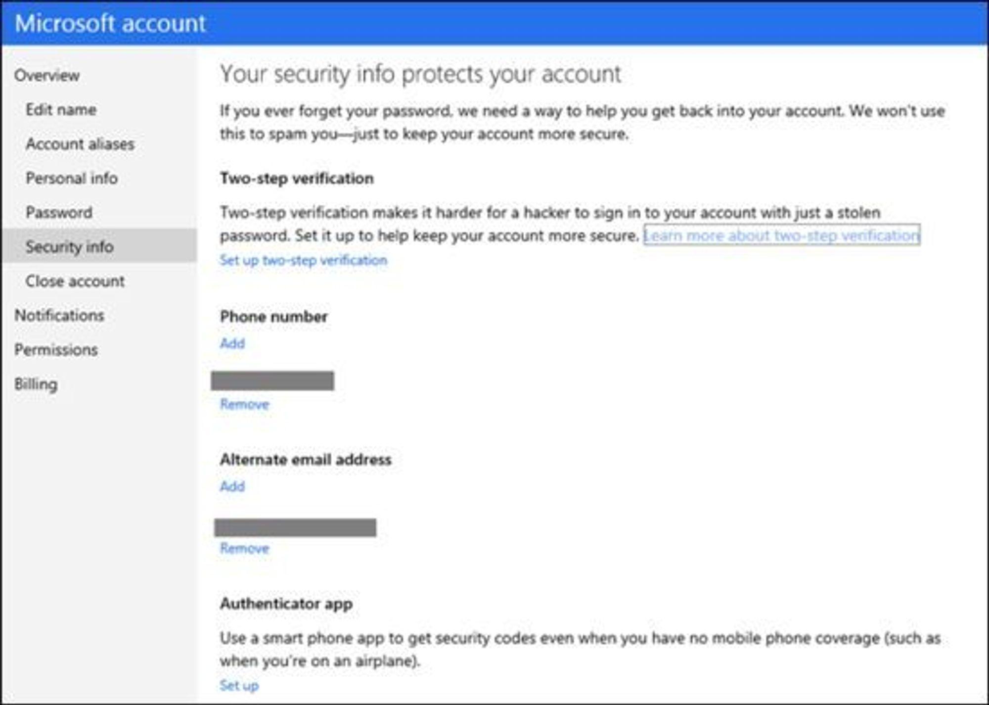 Dialogen for å aktivere to-trinn verifisering av Microsoft-kontoer. Nederst finnes også instruksjoner om hvordan man tar i bruk autentiseringsapplikasjonen.