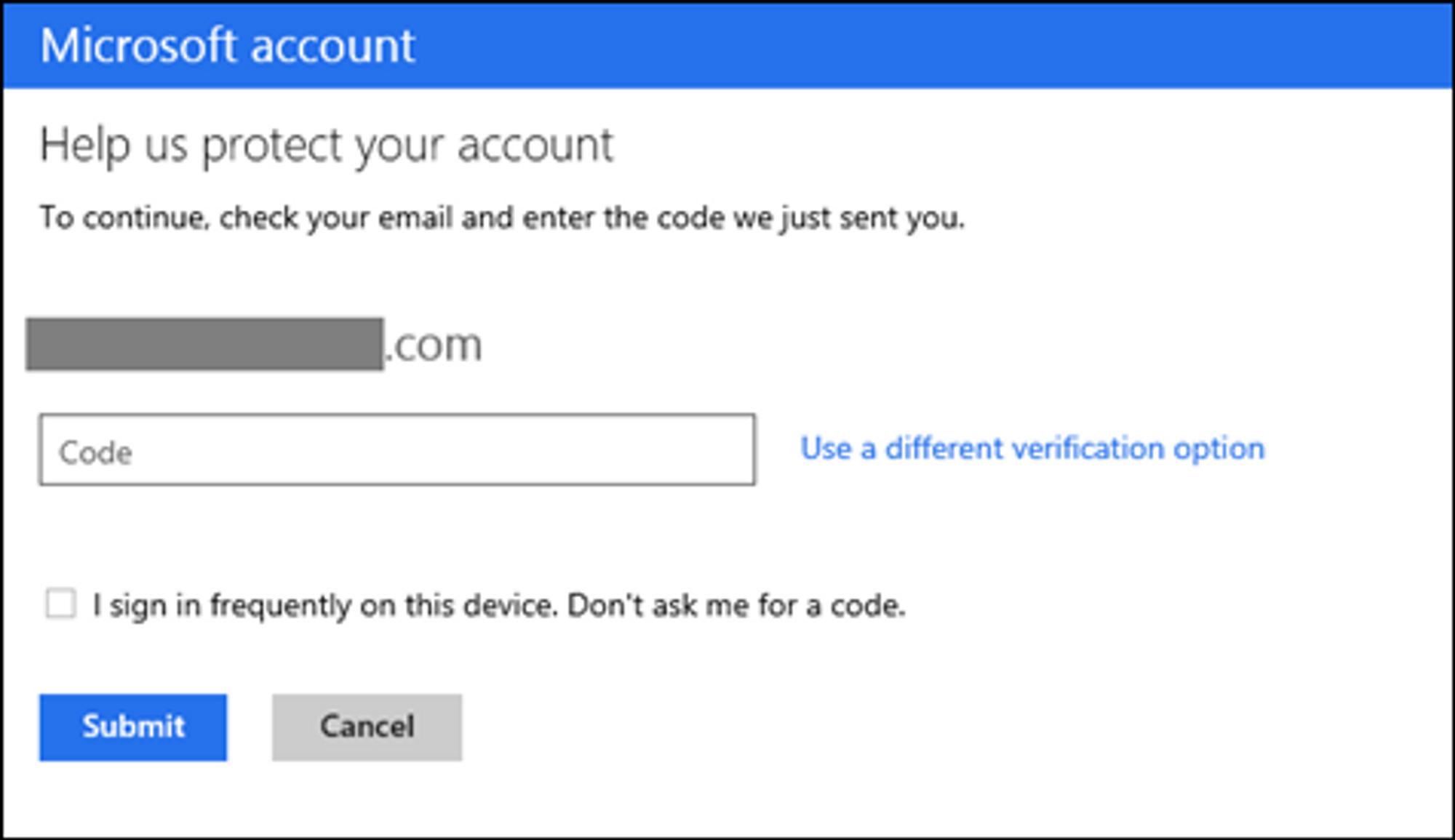 Her blir brukeren bedt om å oppgi en kode som har blitt sendt via e-post. Nederst er det mulig å deaktivere kravet om koder på den aktuelle enheten.