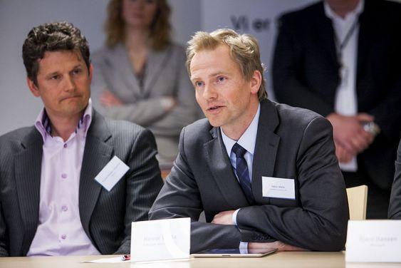 Halvor Walla (t.h) fra Software Innovation kunne fortelle at de driver innovasjonsarbeidet i Danmark - og tar med seg nyvinningene til Norge. Til venstre er direktør i Encap, Thomas Brostrøm.