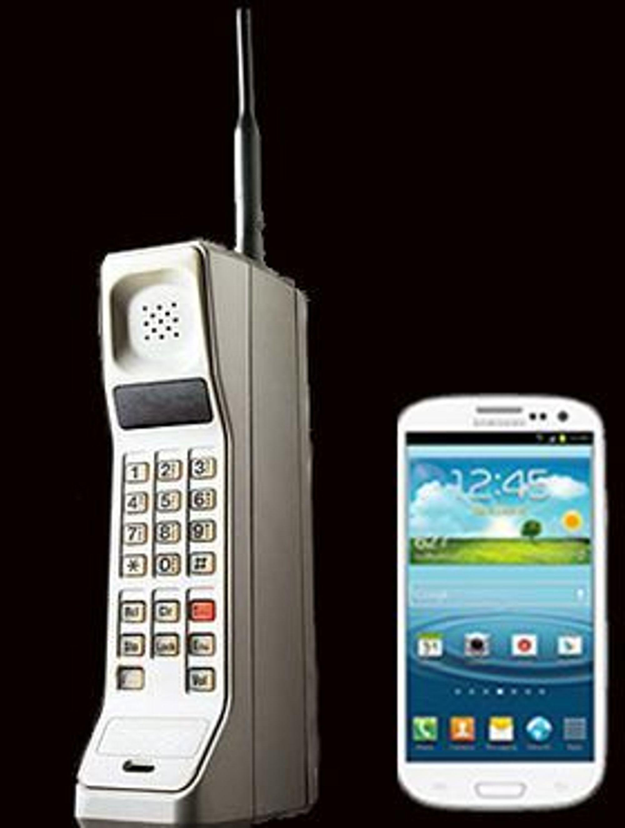 Motorola DynaTAC sammenlignet med Samsung Galaxy S III.