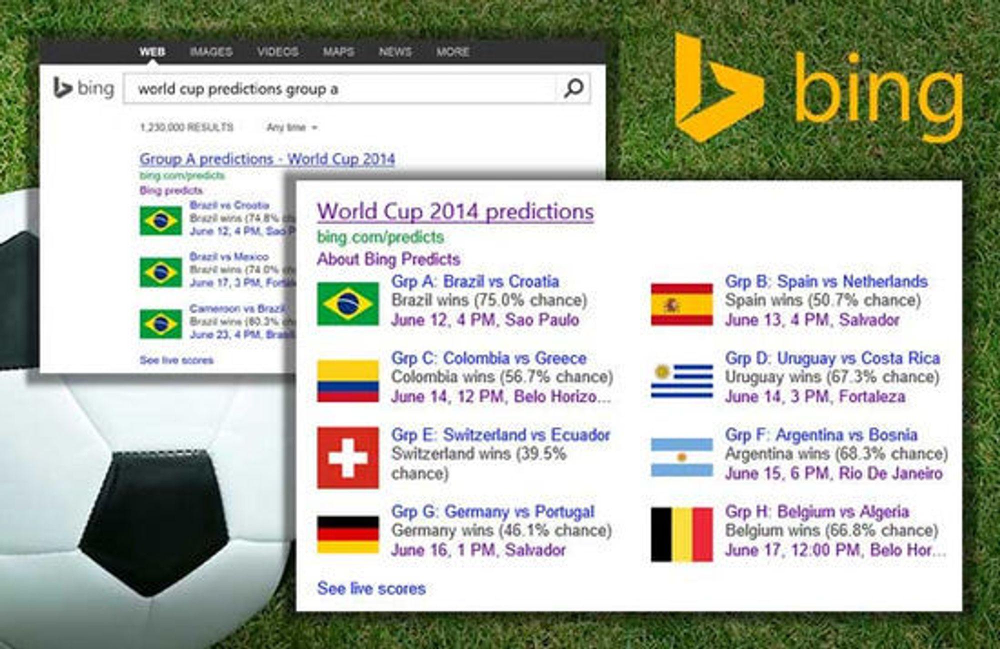 Bing har beregnet sannsynligheten for hvilken lag som vinner hver av kampene i årets VM i fotball.