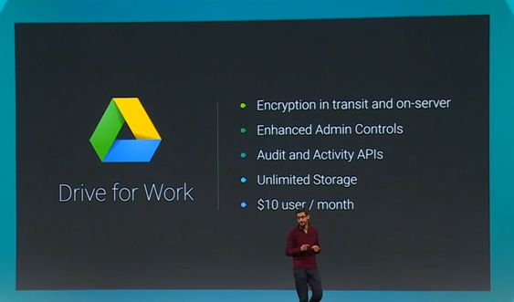 Sundar Pichai i Google presenterte Drive for Work-tjenesten under Google I/O-konferansen i går.
