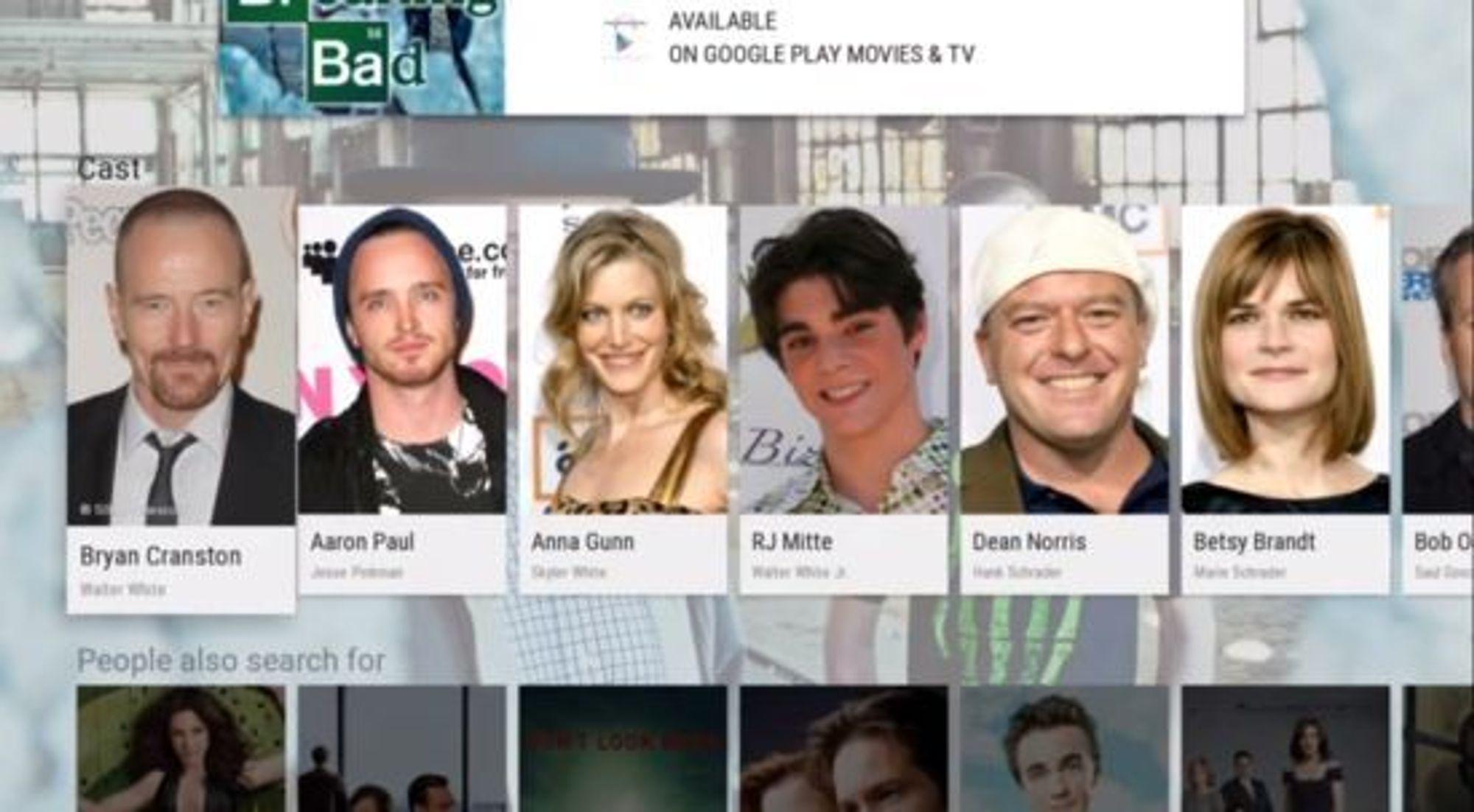 Søkegrensesnittet til Android TV.