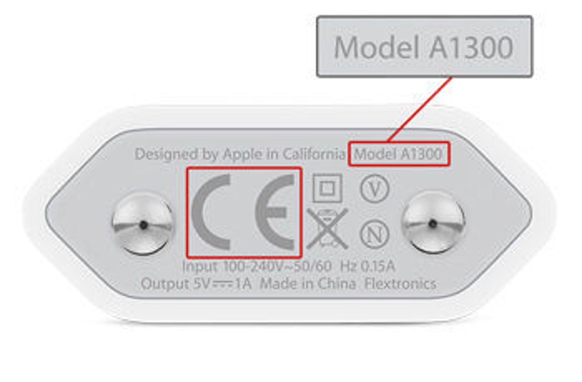 Modellnummeret finnes på undersiden av laderen.