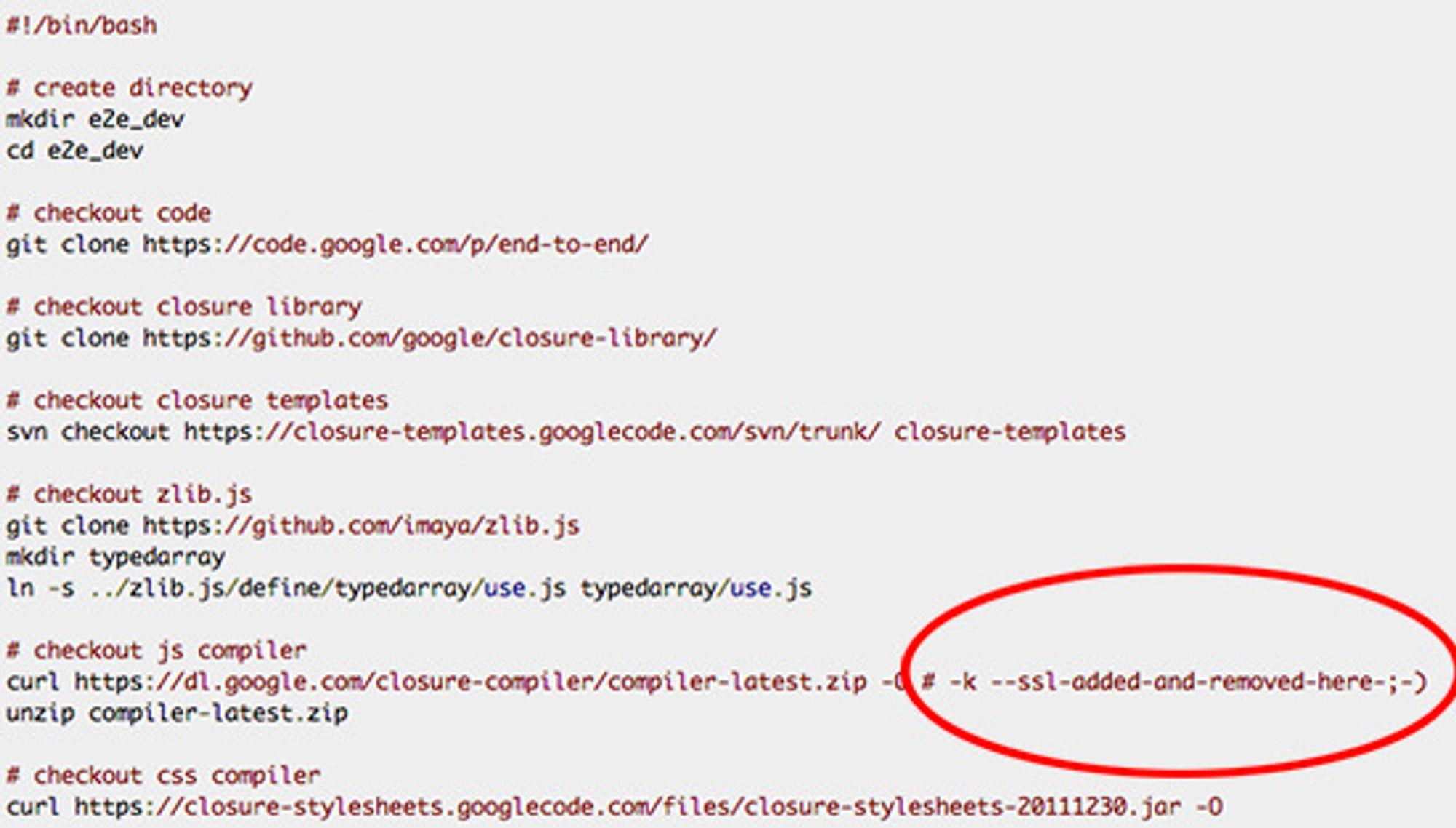 TIL NSA: I en kommentar i kildekoden har Google lagt igjen en hilsen til sine overvåkere.