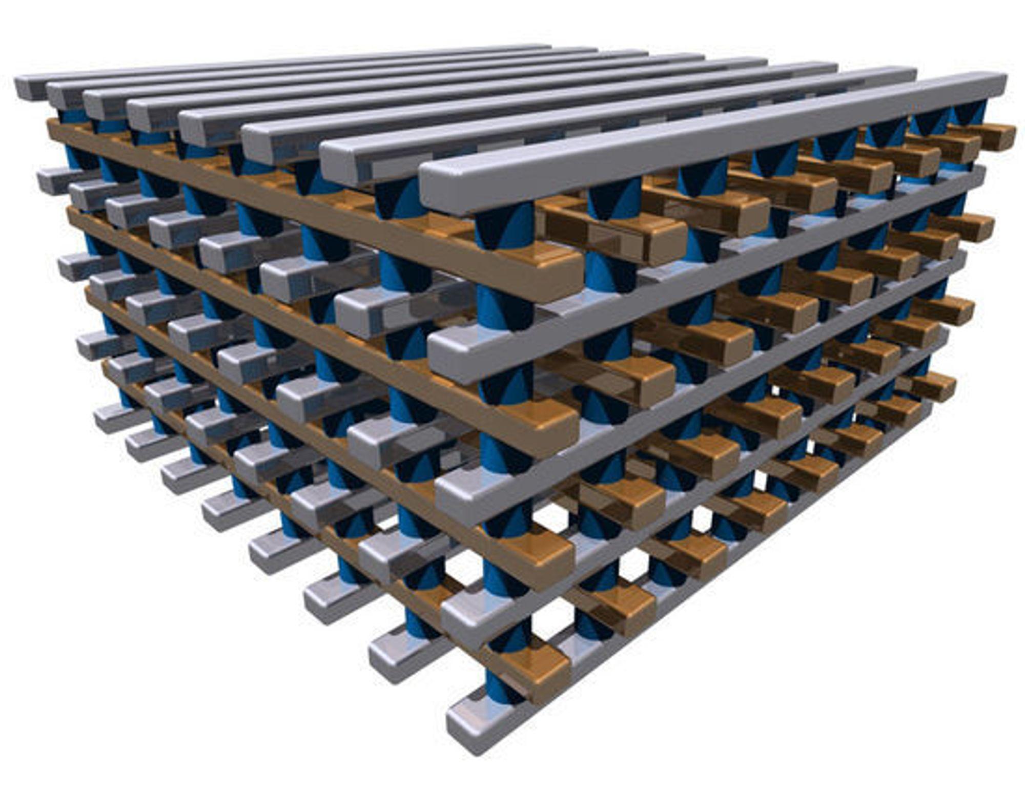 Crossbars RRAM-teknologi kan danne en form for 3D-struktur ved at minnematrisene kan stables i høyden.