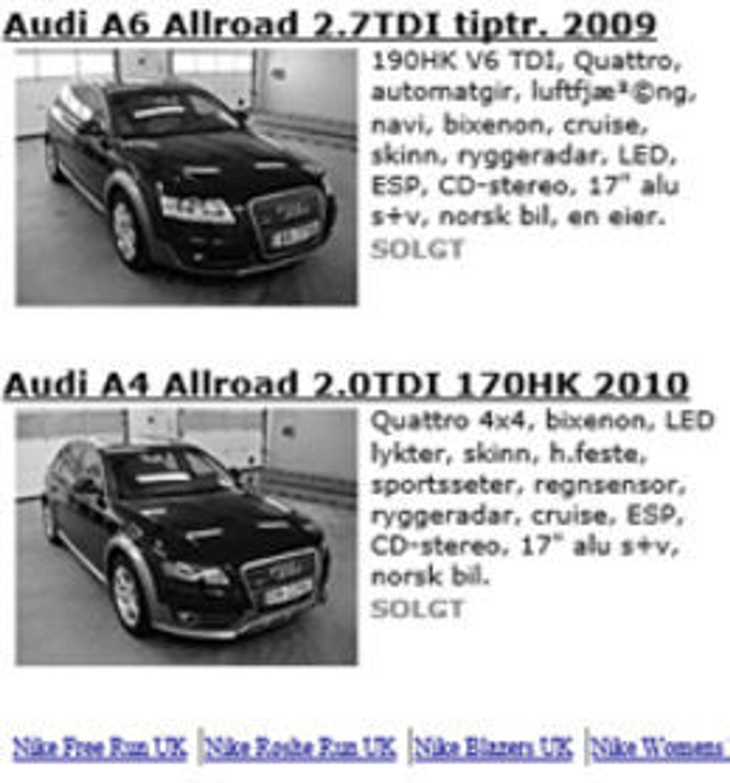 Agder Bilsenter opplevde å få spam-lenker lagt inn nederst på websidene sine.