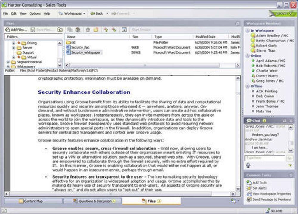 Skjermbilder fra Microsoft Groove 2007