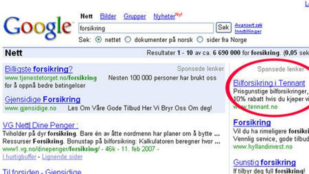Google er foreløpig ganske små i Norge