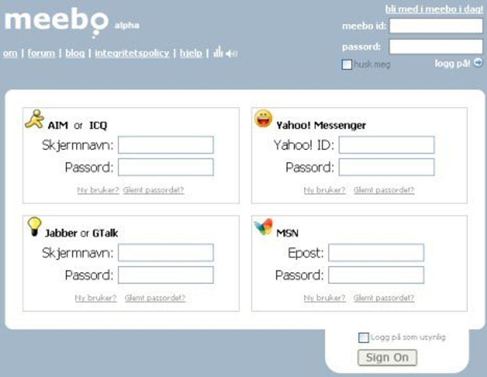 Ajax-baserte lynmeldinger på weben