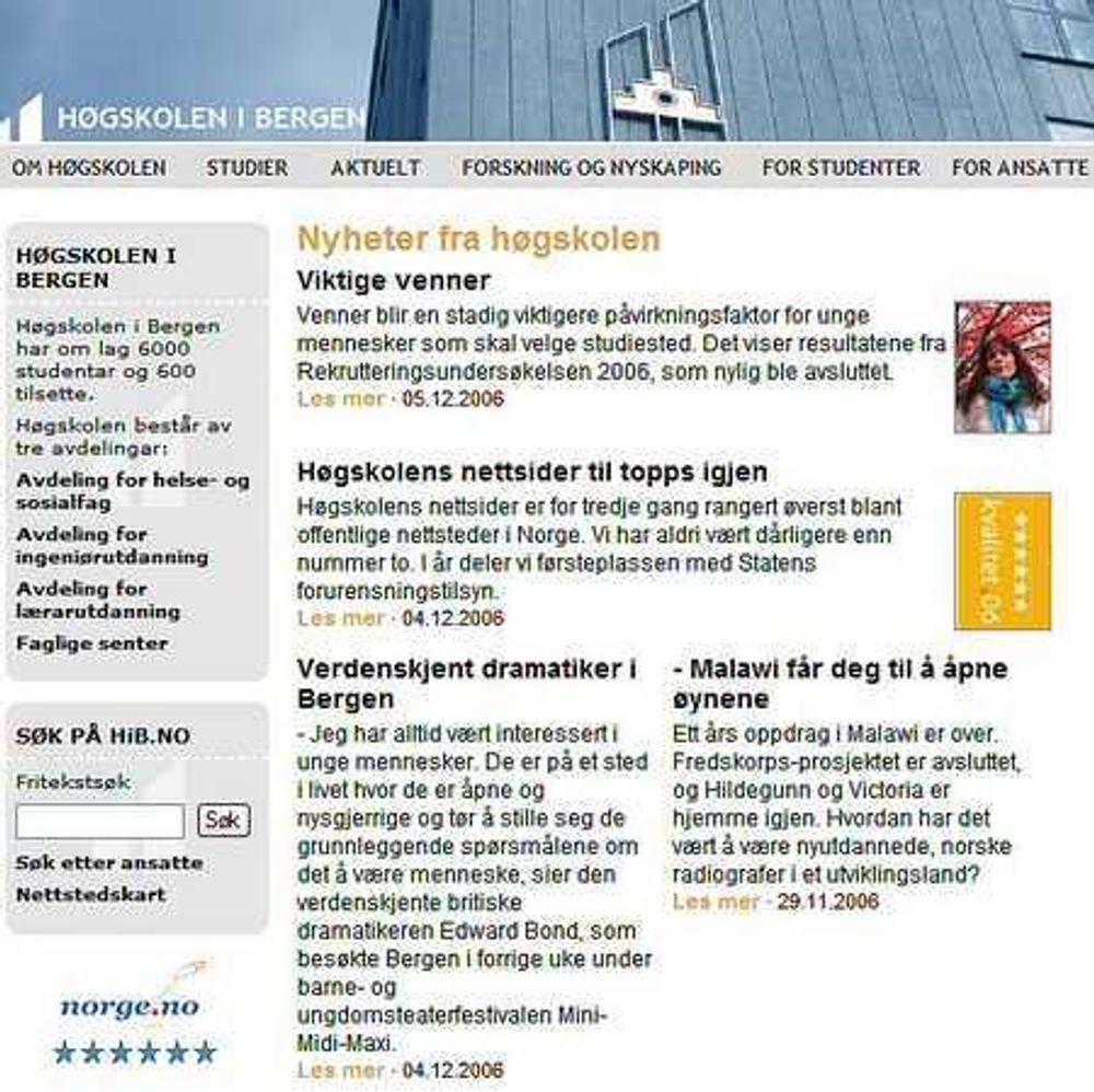 Høgskolen i Bergen kåret som beste nettside