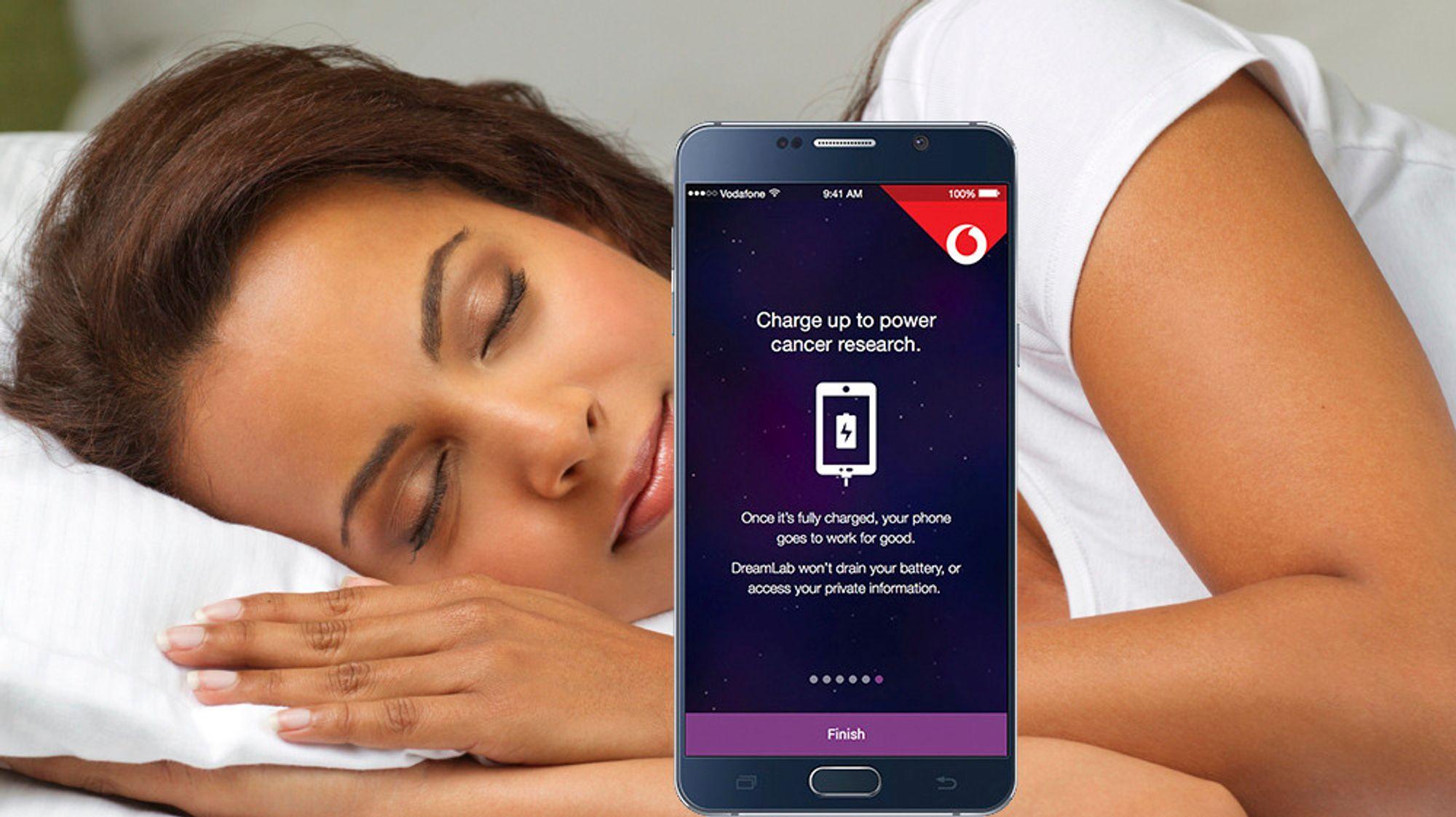 DreamLab-appen kan kjøres for eksempel nå brukeren sover. En forutsetning er dog at mobilen er koblet til laderen.